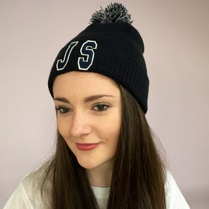 Personalised Navy Bobble Hat With Initials