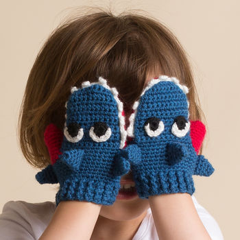 Hand Crochet Children Shark Mittens