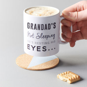 Personalised 'Resting His Eyes' Ceramic Mug - gifts for grandparents