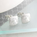 Sterling Silver Organic Square Stud Earrings