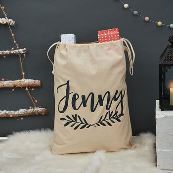 Personalised Christmas Laurel Sack