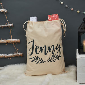 Personalised Christmas Laurel Sack - christmas decorations