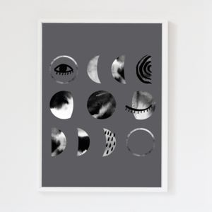 Luna Moon Phases Charcoal Grey Art Print