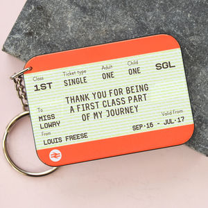 Personalised Train Ticket 'Thank You Teacher' Keyring - gifts for teachers