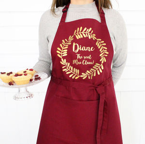 Personalised Christmas Wreath Apron