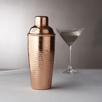 Personalised Initials Hammered Copper Cocktail Shaker