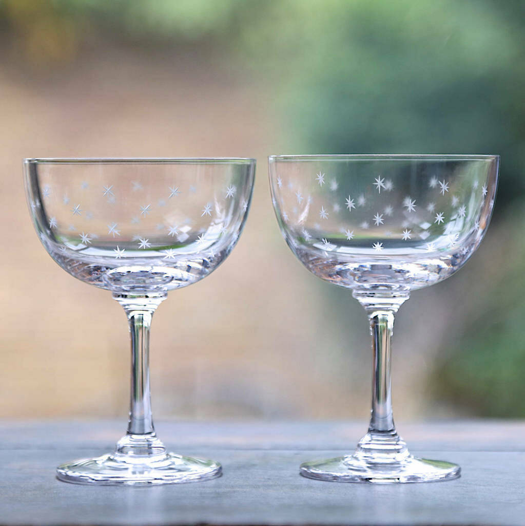 Set Of Two Hand Engraved Star Champagne Saucers By The Best Room Notonthehighstreet Com