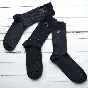 Set Of Three Personalised Geometric Socks - gifts for him