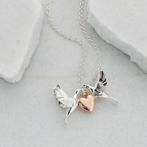 Lovey Dovey Two Doves And Heart Necklace