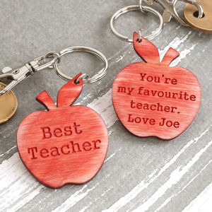 Best Teacher Personalised Apple Keyring Gift - men's accessories