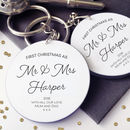 First Christmas As Mr And Mrs Personalised Keyring Set