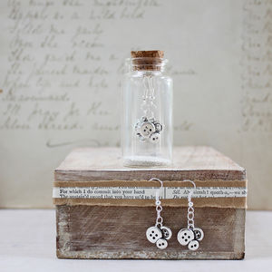 Button Charm Earrings In A Bottle