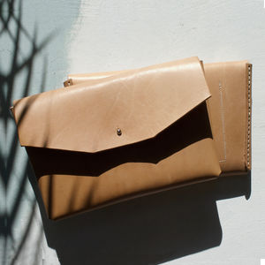 Oak Bark Tanned Leather Clutch Bag
