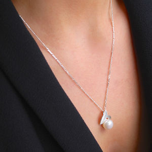 Pearl And Silver Leaf Necklace