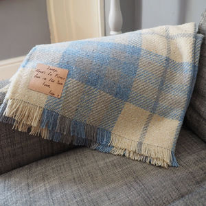 Checked Throw With Personalised Leather Patch - housewarming gifts