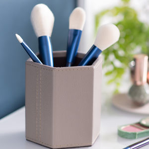 Ladies Leather Make Up Brush Pot Stone