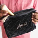 Personalised Quilted Charcoal Velvet Wash Bag