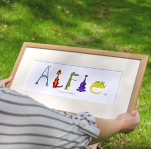 Personalised 'Dinosaur Name' Children's Print - playroom brights