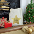 Personalised Gold Glitter Star Christmas Sack