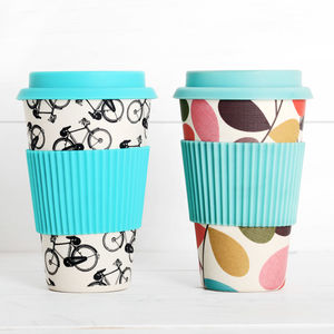 Bicycle Or Leaf Print Bamboo Travel Cup - kitchen