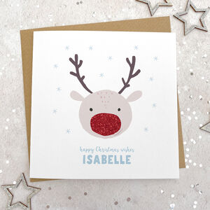 Personalised Glittery Reindeer Christmas Card