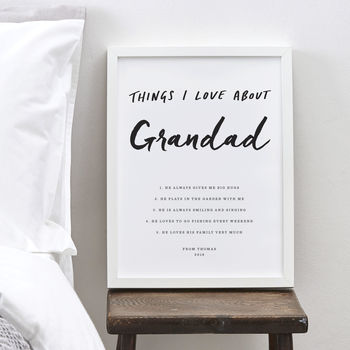 Personalised Things I Love About Grandad Print