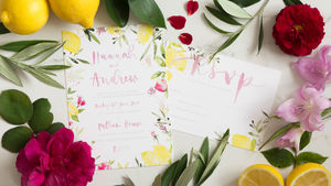 Sorrento Watercolour Wedding Stationery Set - invitations