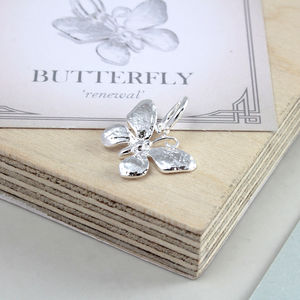 Butterfly Solid Silver Charm - charms