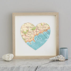 Personalised Location Cannes Nice Map Heart Print - maps & locations