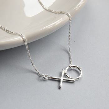 Hugs And Kisses Silver Necklace