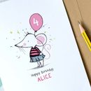 Personalised Mouse Balloon Age Birthday Card