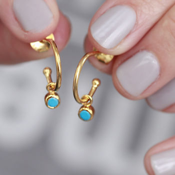 Birthstone Gemstone Petite Hoops In 18ct Gold