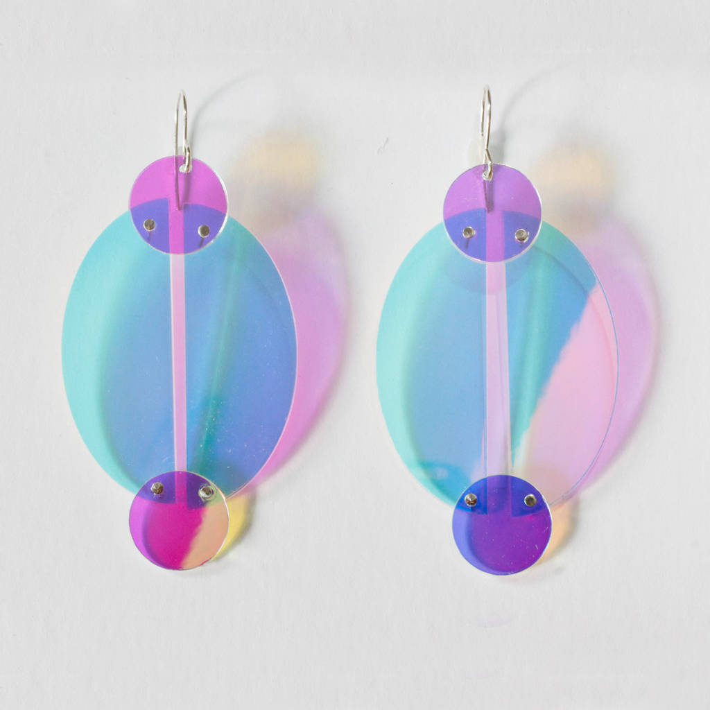 Iridescent Recycled Perspex Earrings Style Two