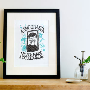 'A Smooth Sea' Sailor A4 Letterpress Print
