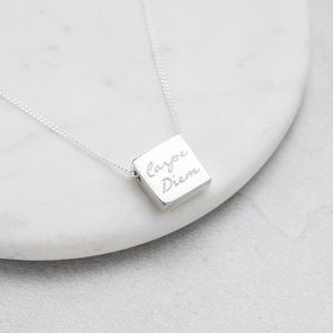 Personalised Silver Square Pendant