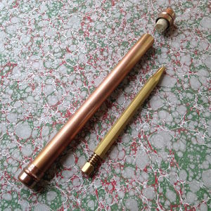 Heavyweight Writers Brass Pen With Handmade Metal Case - 30th birthday gifts