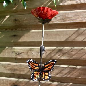 Red Poppy And Orange Butterfly - shop by price
