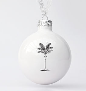 Big Porcelain Christmas Bauble With Palm Tree