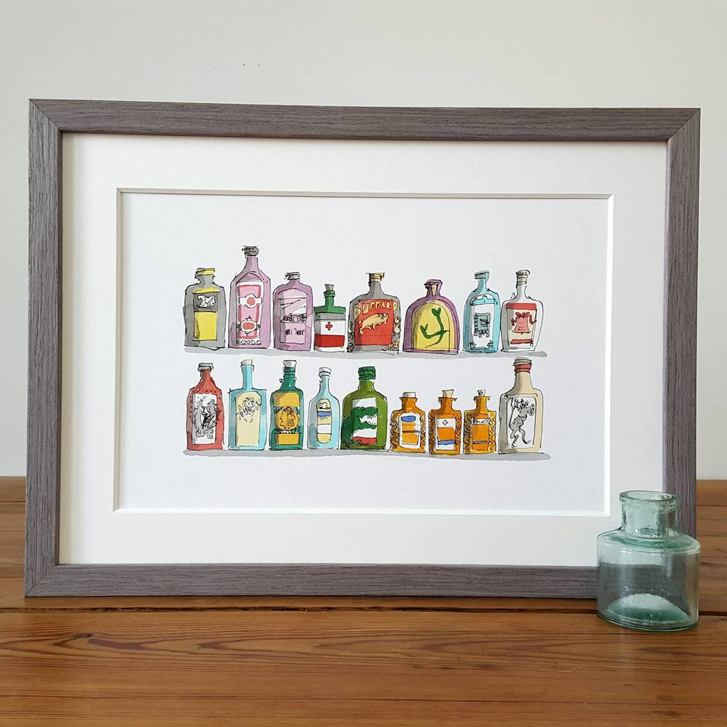 Medicine Glass Bottles, Limited Edition Print
