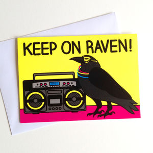 Funny Raving Raven Birthday Card