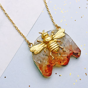 Bee And Honey Citrine Gemstone Necklace - necklaces & pendants