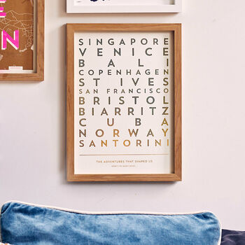 Personalised Metallic Foil Destinations Print, Unframed