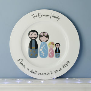 Personalised 'My Family' Kokeshi Doll Plate
