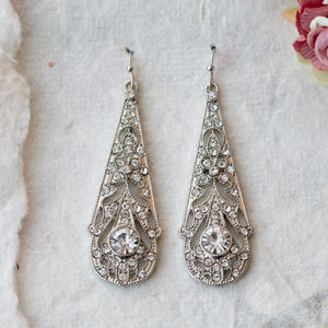 Ophelia Crystal 1920s Style Filigree Earrings - earrings