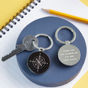 Personalised Father's Day Compass Keyring - winter sale
