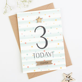 3rd Birthday Card Personalised Three