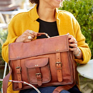 Personalised Vintage Style Brown Leather Laptop Satchel - satchels