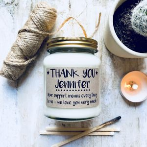 Personalised 'Thank You' Scented Soy Candle - home accessories