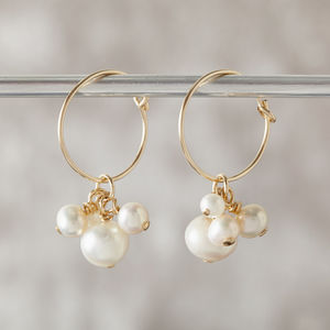 Gold Pearl Hoop Earrings - earrings