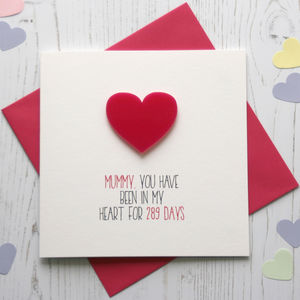 No Of Days In My Heart Personalised Card - mother's day cards & wrap